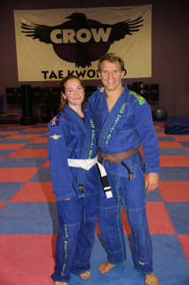 Mel after the training with our BJJ coach Tim