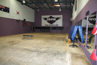 Our mat area without the carpet