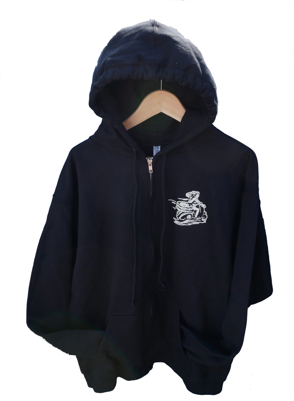 Sparkplug Coffee scooter girl vespa zip hoodie black front.png