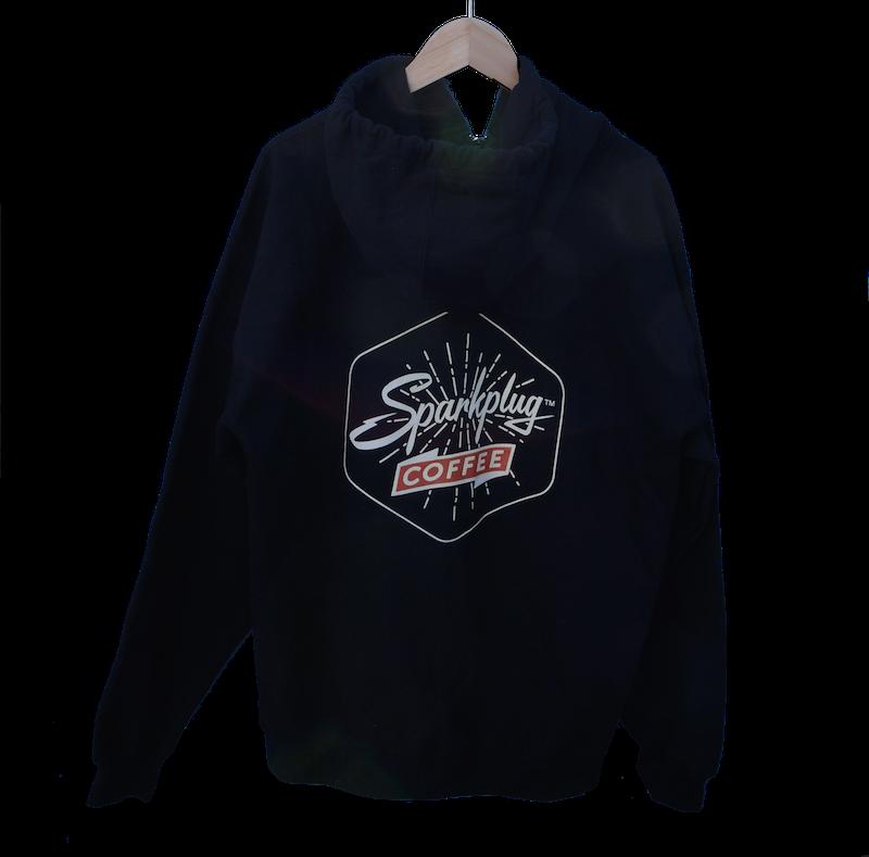 Sparkplug Coffee zip hoodie black back.png