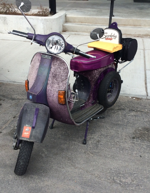 A vintage Vespa - one of our alternative delivery vehicles.