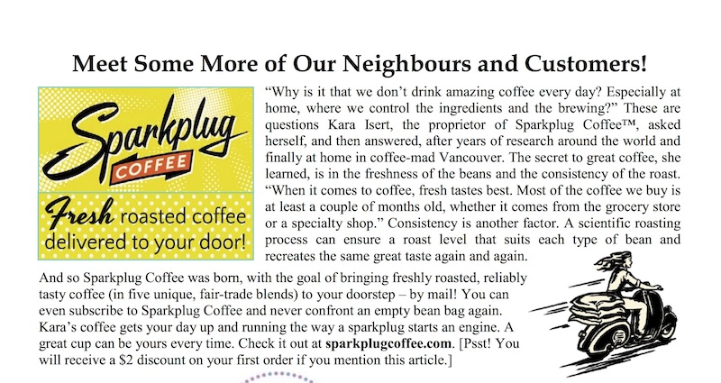 Excerpt from Toronto First Post Office's Newsletter, July 2014 (our business was so fresh, the website wasn't live yet!)