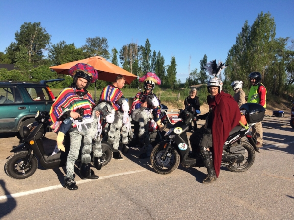 Sparkplug Coffee Checkpoint #1 at Ipperwash Beach - the 3 Yamaha Amigos and Samuel de Champagne