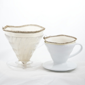 Hario V60-style pourover coffee makers with our reusable organic cotton filters - other sizes and styles available