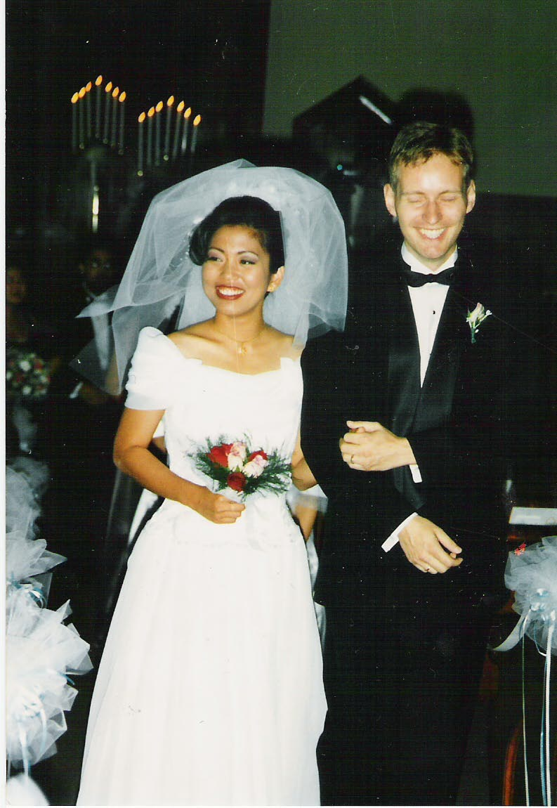 1995! I got the dress two weeks before the wedding, my friend Cynthia made the veil and we got a good deal on our rings: 2 for $99 fromdowntown Los Angeles.