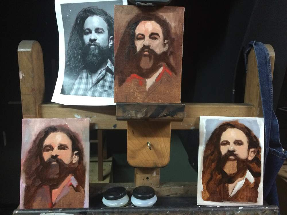 Day 3 - We make three color sketches of a possible portrait. This is done on mini 4 x 6 inch canvases. They are rough and simple and are supposed to help us decide on the overall feel of our final painting.