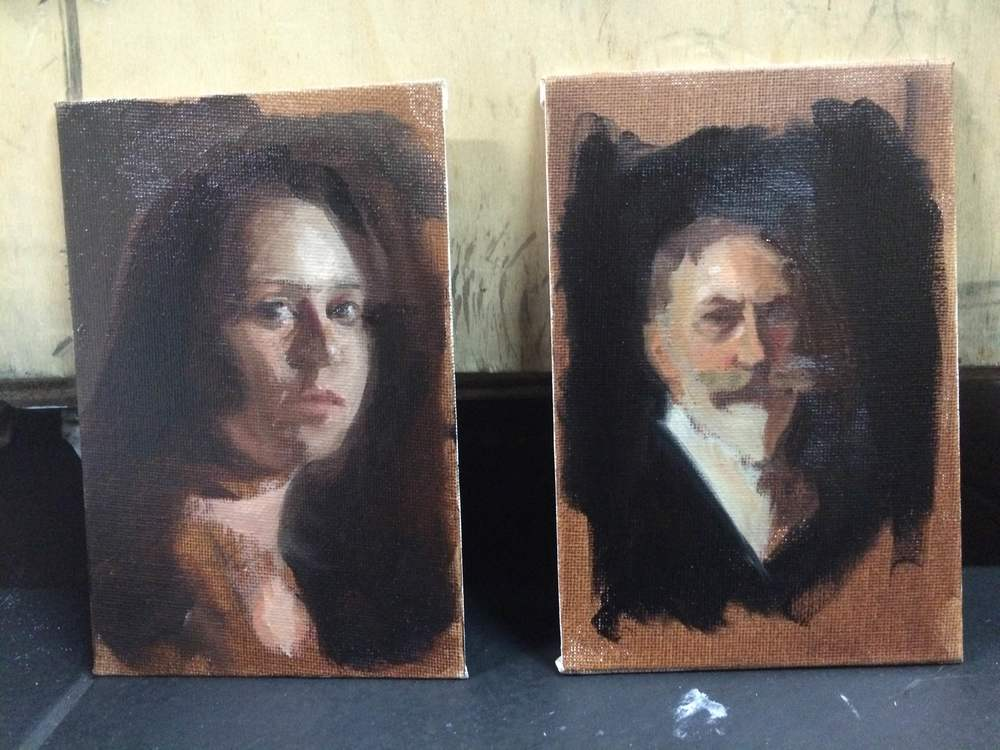 Day 3 - We do mini portraits so we get used to the color palette which we will be using for our portrait. It is Titanium White, Yellow Ochre, Cad Red Light, Red Umber, Raw Umber, Ivory Black, Green Umbre