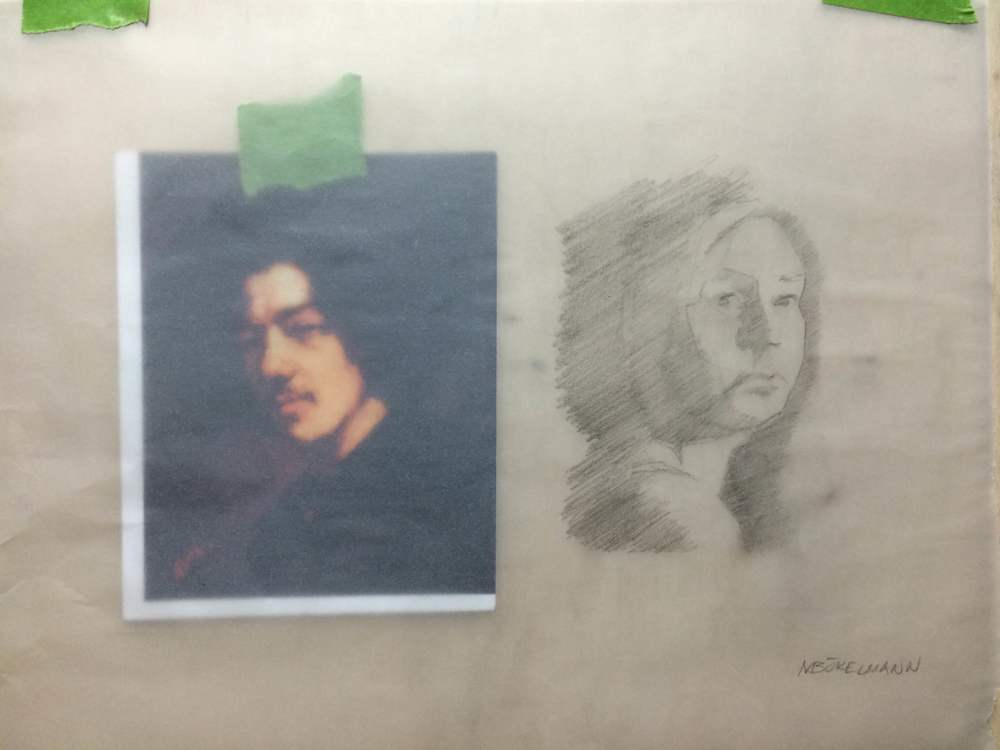 Day 1 - Traced portraits so we practice separating light and shadow.