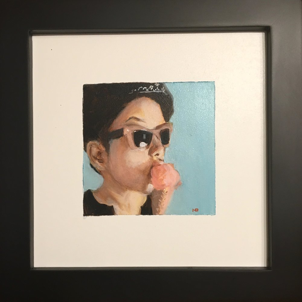 """Ice Cream"" 7x7 inches, oil on board $125"