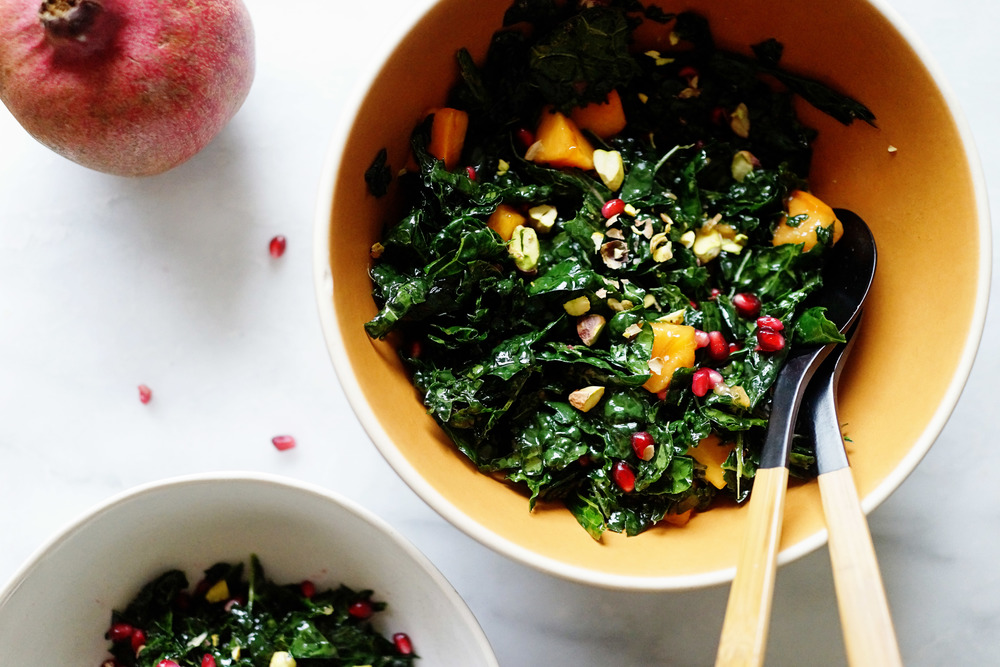 Recipe: Massaged Kale with Pomegranate, Persimmon and Pistachio / www.goodonpaperdesign.com/blog / @good_on_paper
