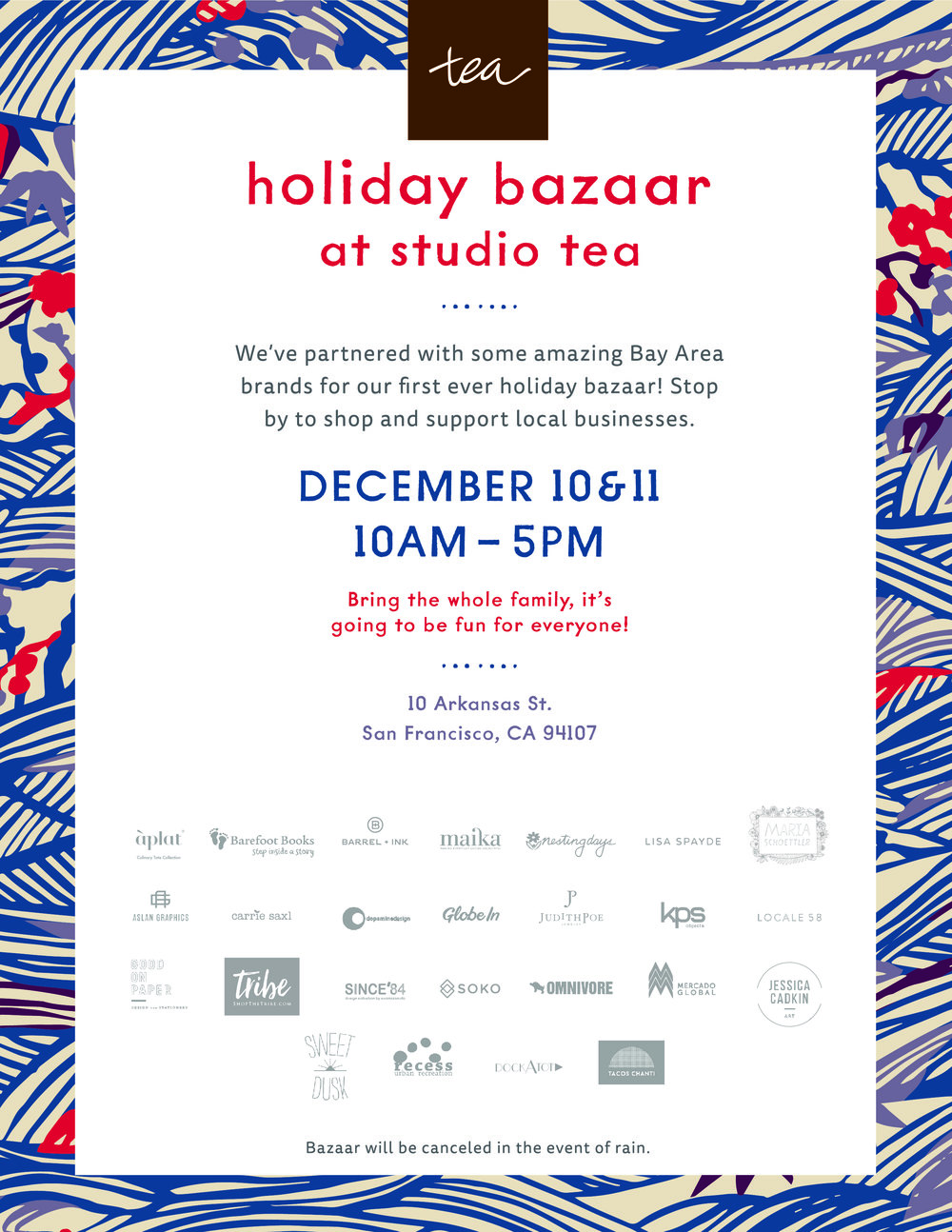 Studio Tea Holiday Bazaar: December 11th  /  www.goodonpaperdesign.com/blog/2016/12/5/studio-tea-holiday-bazaar-december-11th  /  @good_on_paper