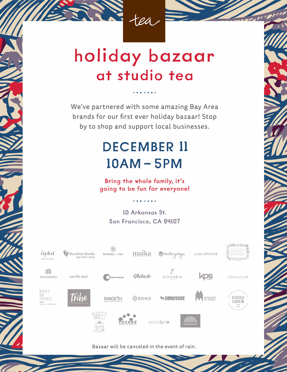 Studio Tea Holiday Bazaar: December 11th  /  www.goodonpaperdesign.com/blog/2016/12/5/studio-tea-holiday-bazaar-december-11th  /  @good_on_paper