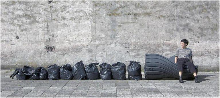 街道傢俱「The XXX」所需要的塑膠垃圾原料。(圖片來源:The New Raw)