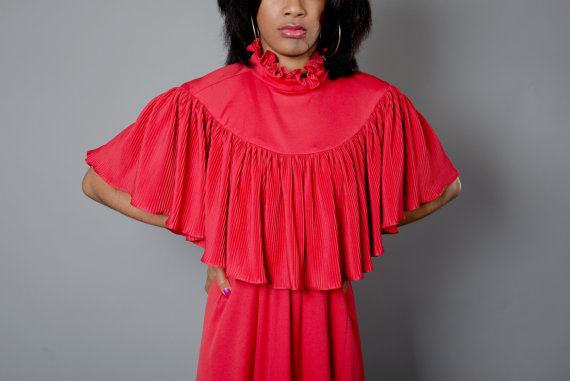 Vintage 1970s Red Disco Gown With Renaissance Shaw