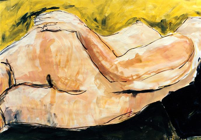 Reclining nude, Acrylicand Charcoal on Paper, 70cm x 50cm (2) (Small).jpg
