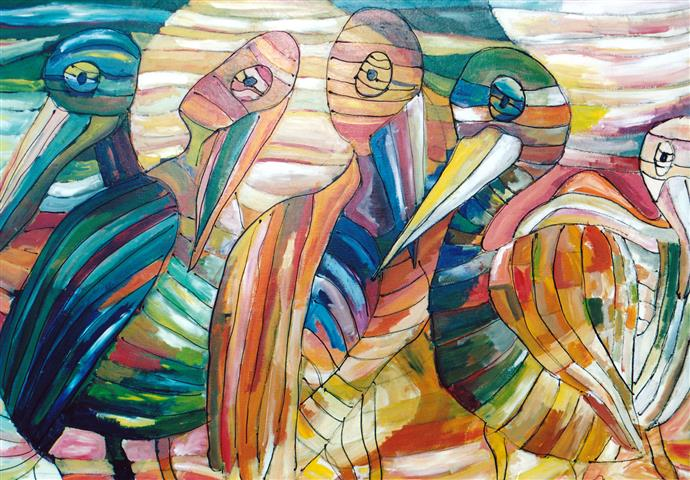 Pelicans After Klee, Acrylic on Paper (Small).jpg