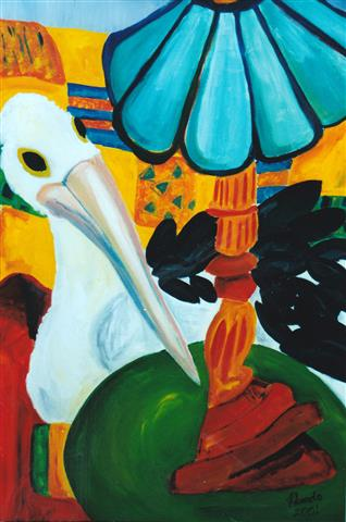 Pelican On My Lounge, Acrylic on Canvas, 105cm x 60 cm (Small).jpg