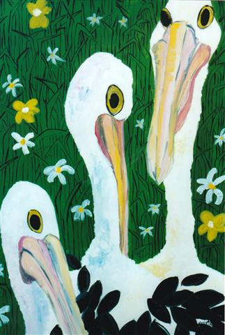 Pelicans in My Garden, Acrylic on Canvas, 105cm x 60cm (Small).jpg