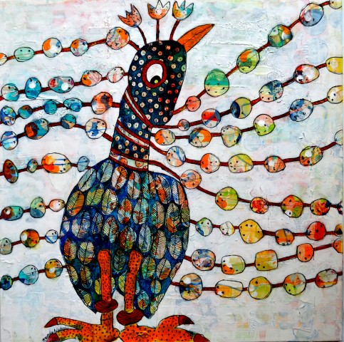 Peacock Series, Makayla's Peacock, Mixed Media, acrylic and collage on wood panel board, 50 x 50 cm (Small).jpg