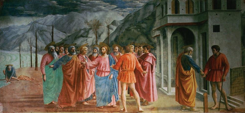 Tommaso Masaccio,  The Tribute Money,  1425, Brancacci Chapel, Florence.