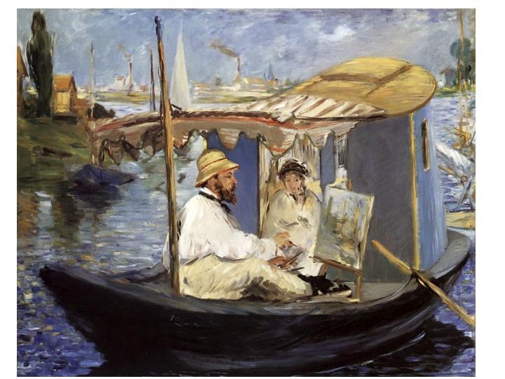 Édouard Manet,  Monet working on his boat , 1874, Neue Pinakothek, Munich.