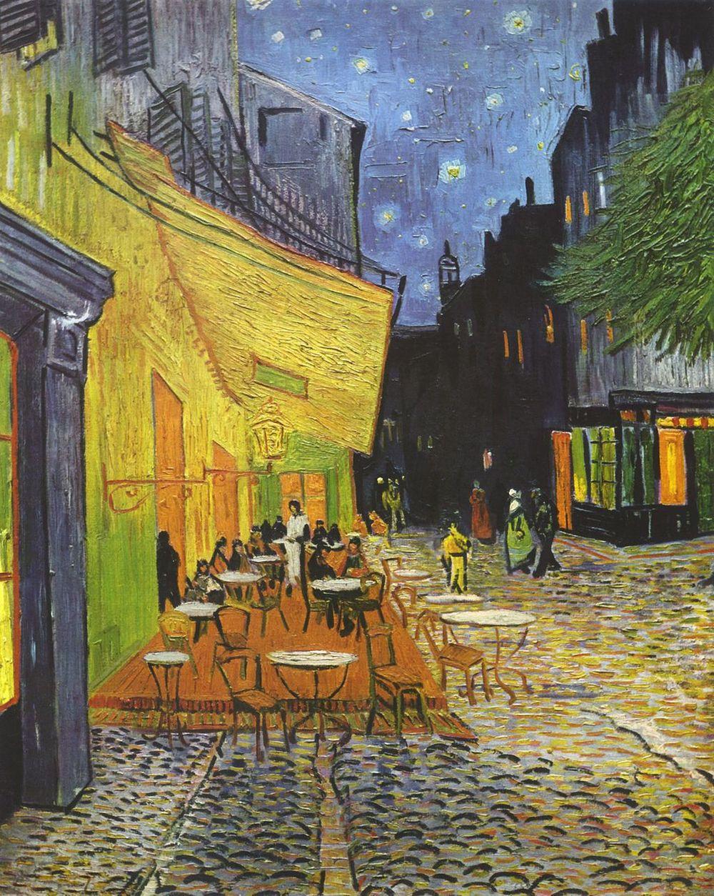 Vincent van Gogh,  The Café Terrace on the Place du Forum, Arles, at Night , 1888, Kröller-Müller Museum, The Netherlands.