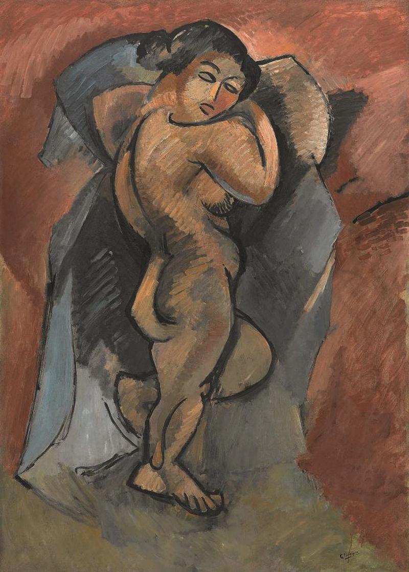 Georges Braque,  Baigneuse (Le Grand Nu, Large Nude) , 1908, Musée National d'Art Moderne, Centre Pompidou, Paris.