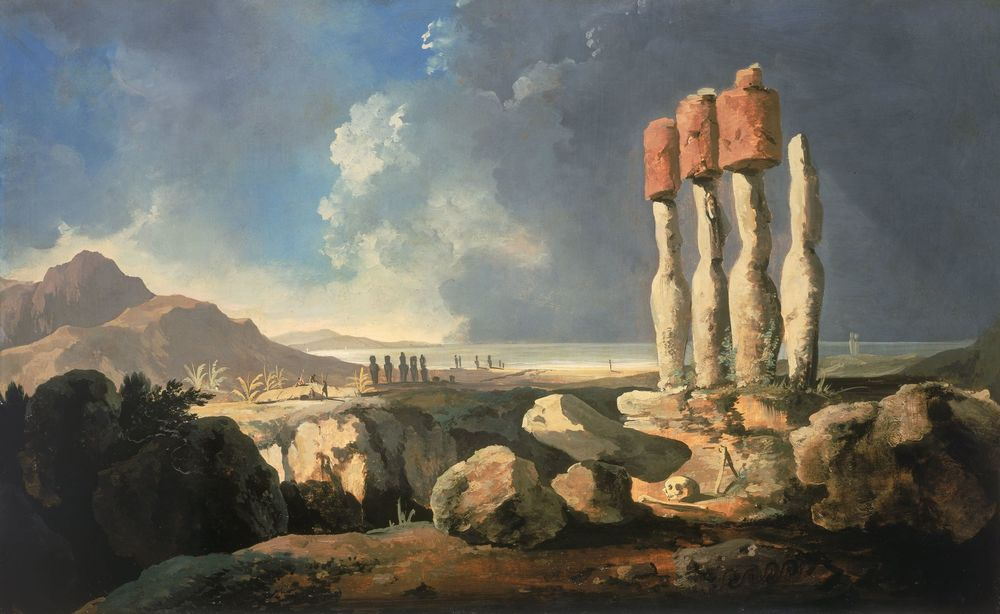 William Hodges, A View of the Monuments of Easter Island, Rapanui, 1775.