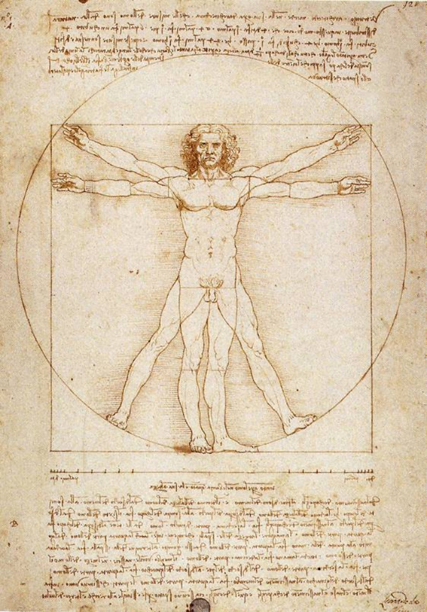 Leonardo da Vinci,  Vitruvian Man , 1492, Accademia of Venice.