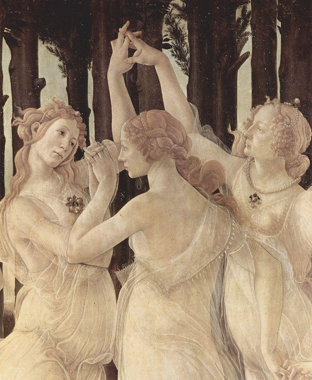 Sandro Botticelli,  Primavera  (detail:  The Three Graces ), c. 1482, Uffizi Gallery, Florence.