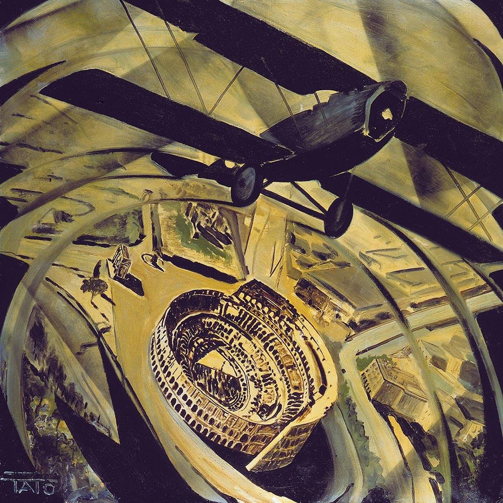 Tato (Guglielmo Sansoni),  Flying over the Coliseum in a Spiral (Spiraling) , 1930, Guggenhein Museum, New York.