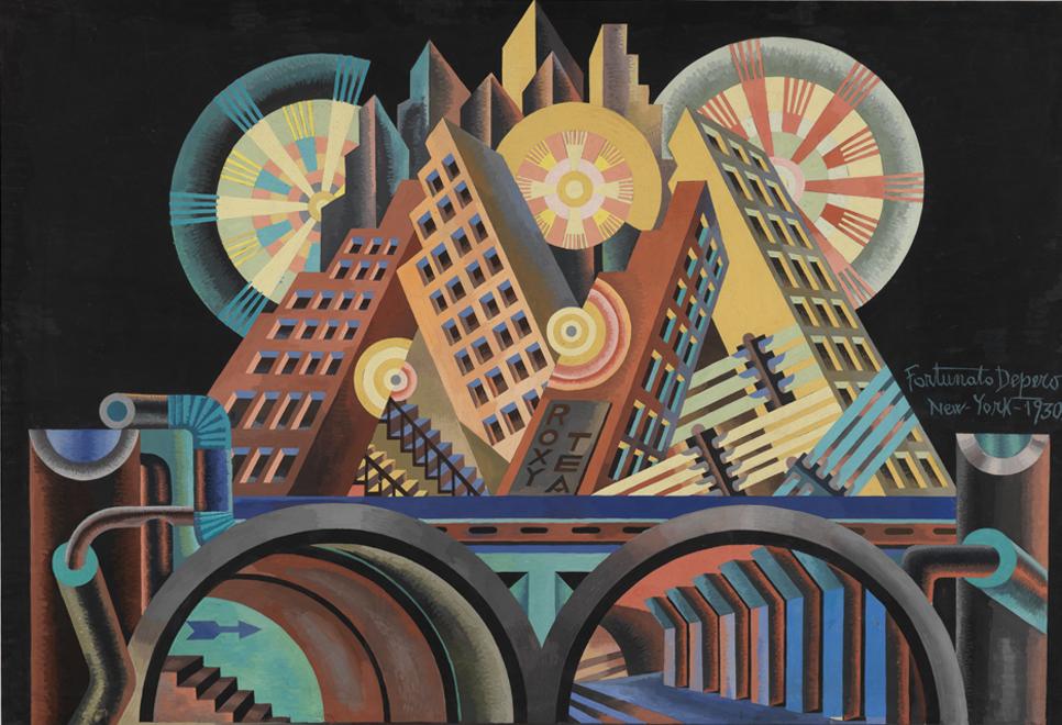 Fortunato Depero,  Skyscrapers and Tunnels , 1930, Guggenhein Museum, New York.