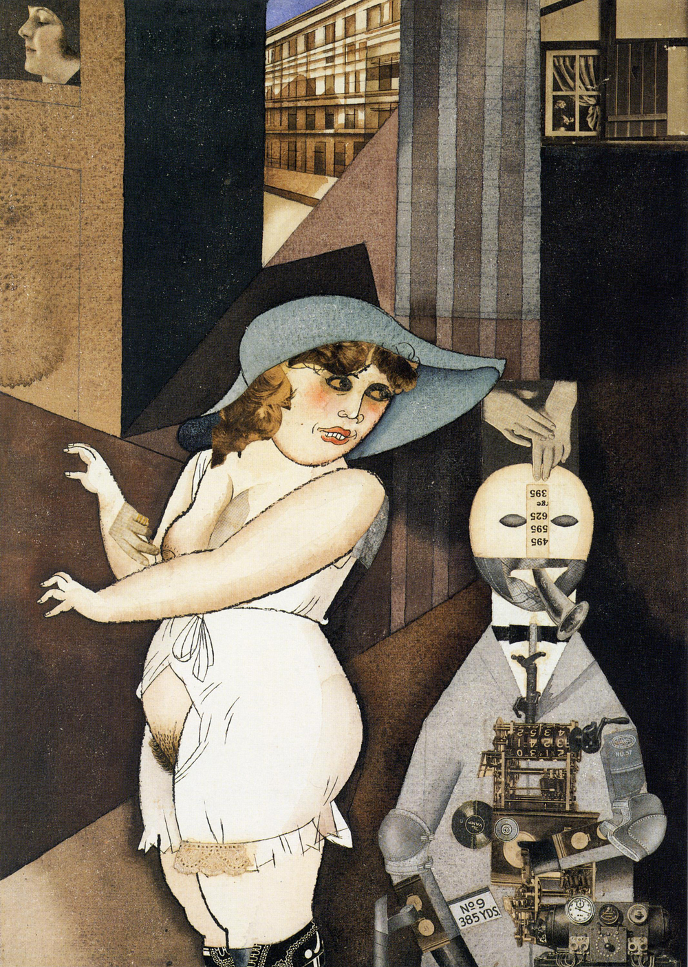 George Grosz, Daum marries her pedantic automaton George in May 1920, John Heartfield is very glad of it, 1920, Berlinische Galerie.
