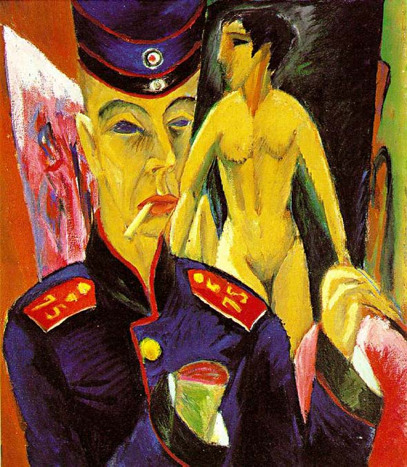 Ernst Ludwig Kirchner, Self-Portrait as a Soldier, 1915, Allen Memorial Art Museum, Oberlin College, Ohio.