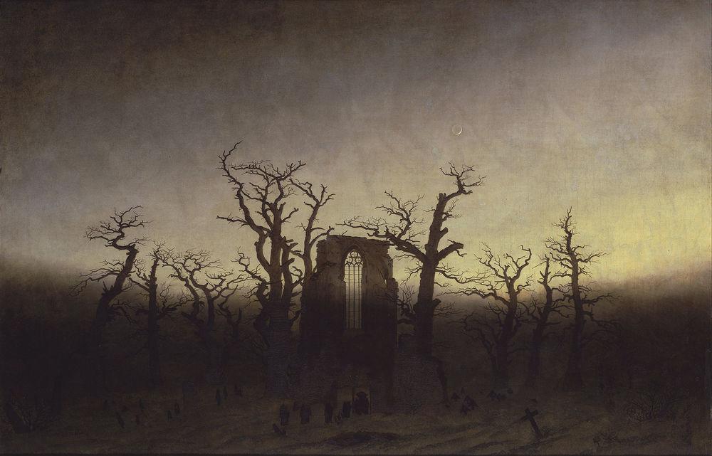 Caspar David Friedrich,  The Abbey in the Oakwood , 1808–10, Alte Nationalgalerie, Berlin.