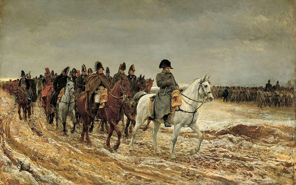 Jean-Louis-Ernest Meissonier, Napoleon and his staff returning from Soissons after the Battle of Laon 1814, 1864, Musée d'Orsay, Paris.