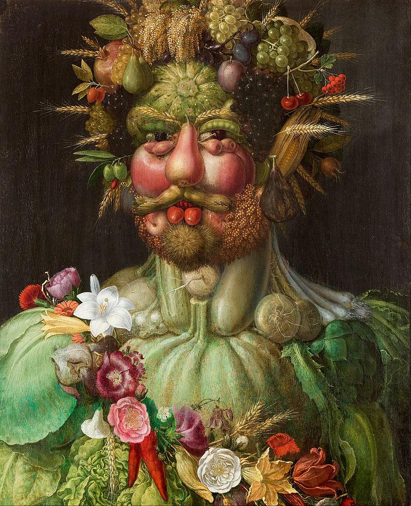 Giuseppe Arcimboldo,  Rudolf II as Vertumnus, the Roman God of the Seasons , c. 1590-1, Skokloster Castle, Sweden.