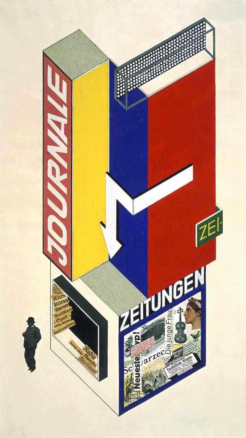 Herbert Bayer,  Design for a newspaper kiosk , 1924.