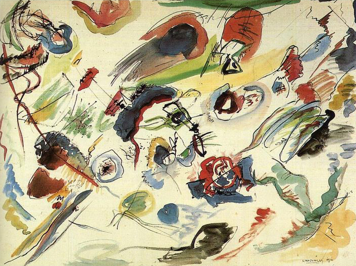 Wassily Kandinsky, Untitled (First Abstract Watercolor), 1910, Centre Georges Pompidou, Paris.