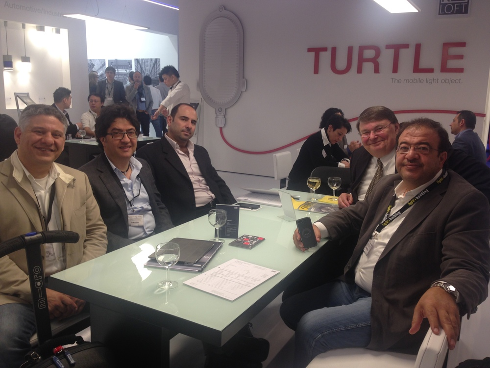 (from Left to Right)   Mr. Bil Farhat , Mr. Talal Wehbe , Mr. Samer Safa, Mr. Gisbert Shauer and Mr. Yasser Wehbe, all looking great as they are actively attending Light+Building Fair every 2 years in Frankfurt Germany. (March 30 - April 4, 2014)