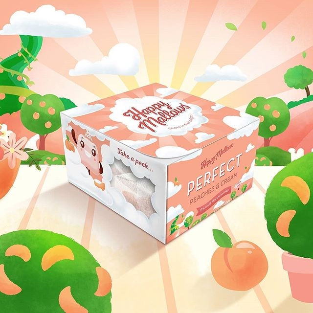 Welcome to the wonderfluffy world of the @happymallows ... The squidgiest, fluffiest  gourmet marsh mallows in the land! Swipe to take a peek into the world of Perfect Peaches & Cream... #design #branding #packdesign #packagingdesign #illustration #illustrator #illustrations #princess #brand #creative #graphicdesign #graphics #rebranding #designagency #gourmetfood #foodporn #marshmallows #happymallows #designlife #brandingagency
