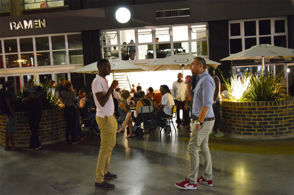 Design Share Party happens at Velo, corner Melle and Juta in Braamfontein, in a little courtyard called the Grove.