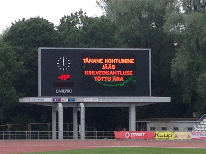Levadia-Kalev scoreboard: game called off