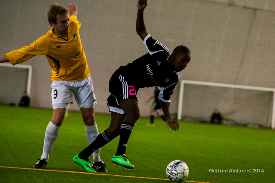 French signing, Reginald, in action in another friendly vs. Finnish side Honka (Gertrud Alatare)