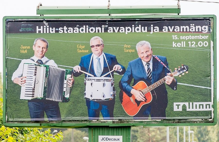 Jaanus Mutli in a commercial banner for the re-opening of Hiiu Stadium, first from left (Delfi.ee)