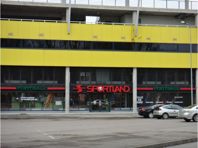 Sportland Football for football shopping at the 'A.LeCoq Arena' stadium