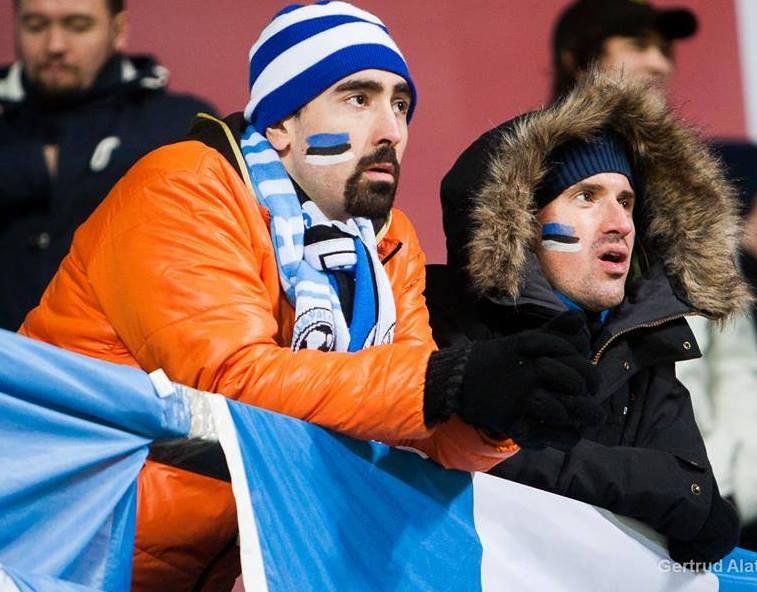 Nicolas, left, is also an 'Eesti Koondis' fan, here at the 2-1 win against Azerbaijan (Gertrude Alatare)