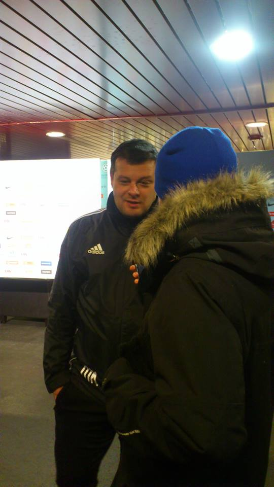 Marko Kristal (Levadia's coach) talking to RdS microphone (Deni Delev - RdS)