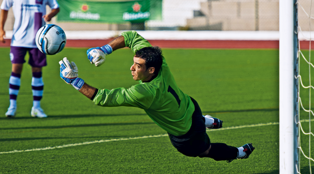 Jordan Perez, the Gibraltar shot-stopper in action (FourFourTwo)