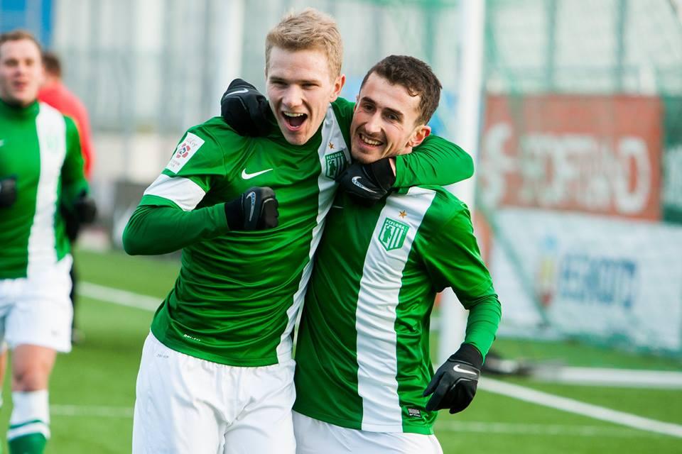 Jürgenson celebrates Beglarashvili for the opener (Flora Facebook page)